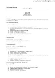 Lifeguard Cv Example Professional Resume Templates