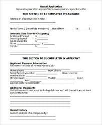 Blank Rental Application Sample Rental Application Form In Word 8 Examples In Word