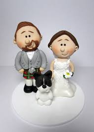 wedding cake toppers. footbal fan themed wedding cake topper scottish personalised with pet french bulldog toppers