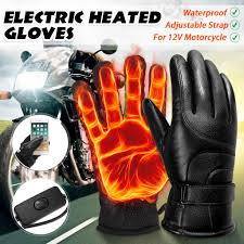 12V PU Electric Heated Gloves Touch Screen Motorcycle Winter ...