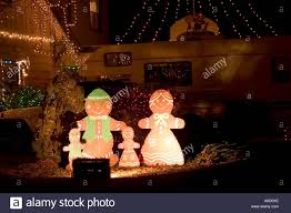 Gingerbread Outdoor Lights Gingerbread Family Outdoor Christmas Decoration Stock Photo