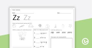 Letter z worksheets help kids learn to read zebra and zucchini. letter z worksheets will help kids finish learning the letters of the alphabet in a fun way! Letter Zz Alphabet Worksheet Teaching Resource Teach Starter