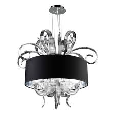 plc lighting 4 light polished chrome chandelier with black fabric shade and clear glass shade