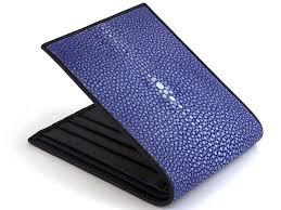 stingray leather wallet ocean blue