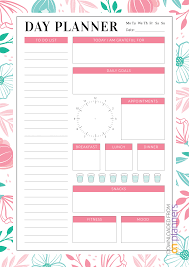 Daily Goals Template Download Printable Blossom Flowers Daily Planner Pdf