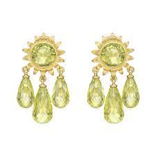 18k yellow gold peridot sunflower chandelier earrings