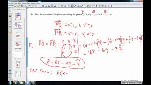 finding the equation of the plane that contains 3 given points