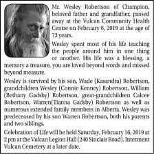 Wesley ROBERTSON | Obituary | High River Times