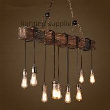 Loft Style Creative Wooden Droplight Edison Vintage Pendant Light Fixtures  For Dining Room Hanging Lamp Indoor Lighting-in Pendant Lights from Lights  ...