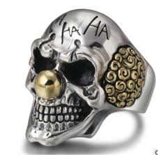 Gothic Skull Design Us 2 99 25 Off Vintage Clown Personality Exaggeration Ring Gold Silver Color Joker Face Design Gothic Skull Punk Rock Knight Biker Jewelry In