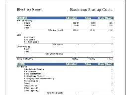 Business Start Up Expenses Business Startup Spreadsheet Template