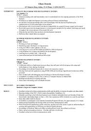 How To Put Shadowing On A Resume Web Development Intern Resume Samples Velvet Jobs 16