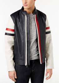 men s intrepid leather jacket created for macy s tommy hilfiger