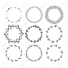 ラウンド手描きインク フレームのセットですベクター飾り枠デザイン民族の円パターン