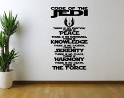 more colors jedi inspired code of the jedi star wars wall art vinyl decal sticker on star wars wall art stickers with c3po wall decal etsy