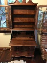 antique secretary desks vintage wood desk cabinet hutch brown cognac for attractive household plan with glass