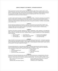 Resume summary example 8 samples in pdf word for Sample resume summary .