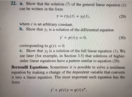 show that the solution 7 of the general linear equation