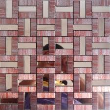 Small Picture Peel and Stick Tile Red Aluminum Metal Wall Tile Adhsive Mosaic