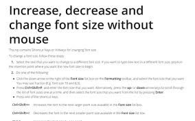 Font Size Chart Pdf Increase Decrease And Change Font Size Without Mouse