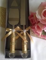 Satin and Rhinestone Wedding Cake Serving Set by Love4Sparkles on