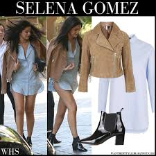 selena gomez in camel suede biker jacket light blue shirt and black ankle boots from