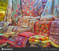 the colors of persian carpets shiraz iran stock photo