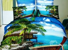 beautiful green coconut tree and blue ses print 4 piece cotton duvet cover sets