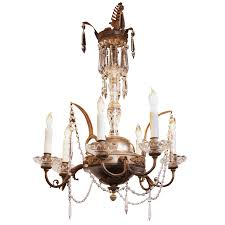 italian early 19th century crystal nickel and brass gas six light chandelier