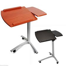 angle height adjule rolling laptop desk cart bed hospital table w split top