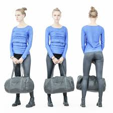 blue dress girl in leather pants holding sportsbag low poly 3d model