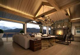contemporary living room with arched ceiling beautiful chandelier and large stone fireplace