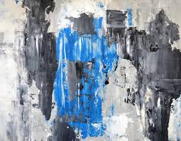 grey and blue abstract art painting stock image image of wall white