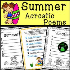 Summer Acrostic Poems Summer Writing Activity By The Froggy Factory Fascinating Sper Poetry