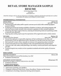 Retail Store Manager Resume Inspirational Retail Store Manager