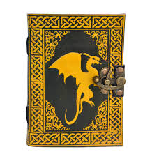 celtic fair trade handmade celtic sitting dragon leather journal notebook diary color book