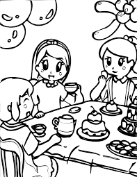 Small Picture Tea Party Coloring Page Handipoints