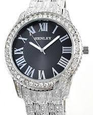 mens bling watches henley mens real crystal bling silver tone watch mega big black dial new