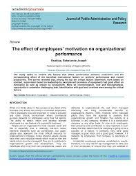 Pdf The Effect Of Employees Motivation On Organizational Performance