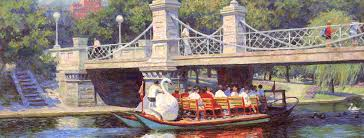 canvas print of the oil painting boston garden swan boats art for by the artist