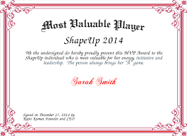 Most Valuable Player Certificate Magdalene Project Org