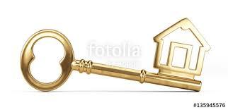 gold house key. Gold House Key Isolated On White. 3d Illustration
