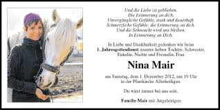 Traueranzeige Von Nina Mair Vom 30112012