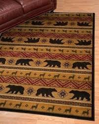 moose bear area rugs lodge cabin forest rustic paw panel black red rug free deer bear area rugs