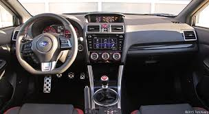 subaru wrx 2016 interior. inside the wrx is a 3spoke flatbottomed leatherwrapped steering wheel with red complimenting stitching sport design instrument panel and gauges subaru wrx 2016 interior