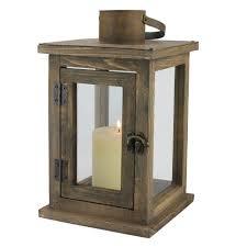 h rustic wood lantern