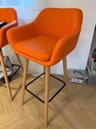 2x orange leather bar stools perfect condition