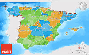 What Do The Colors Denote In A Bathymetric Chart Political 3d Map Of Spain Single Color Outside Bathymetry Sea