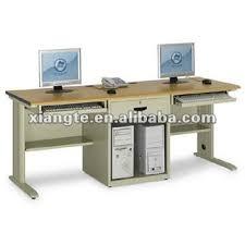2-Person Single Pillar No Door Double Computer Desk/ Office computer table