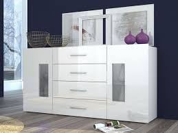 daiquiri modern sideboard with partial glass doors and 4 drawers in white gloss finish thumbnail